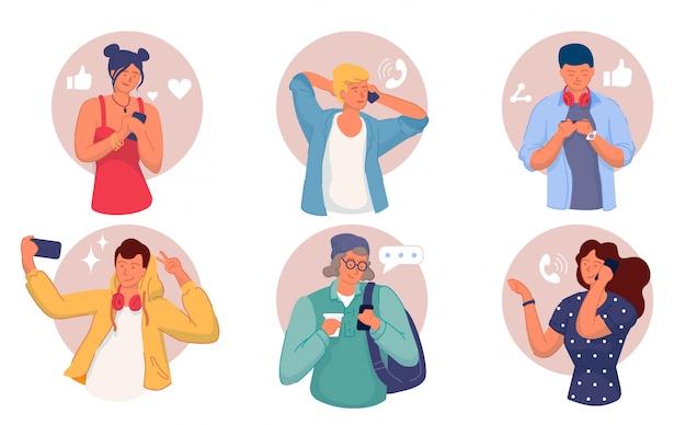 Utilisateurs de smartphones. hommes et femmes utilisant un ensemble de téléphones mobiles. les utilisateurs discutent, appellent, parlent, communiquent, prennent des photos de selfie sur la collection de gadgets pour smartphones. réseau social, communication