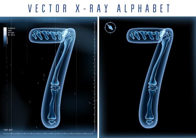 Utilisation de l'alphabet transparent aux rayons x 3d dans le logo ou le texte. numéro 7 sept