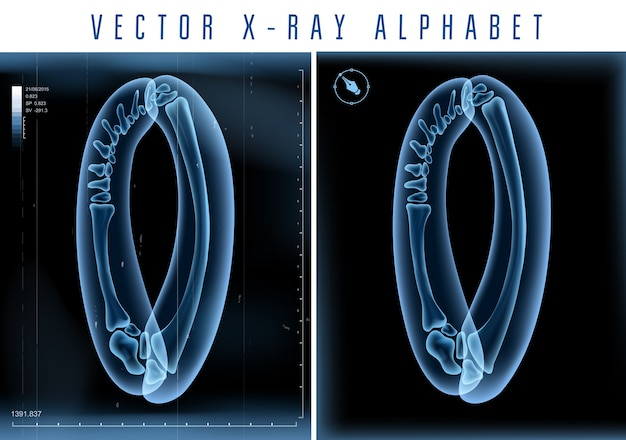 Utilisation de l'alphabet transparent aux rayons x 3d dans le logo ou le texte. numéro zéro 0