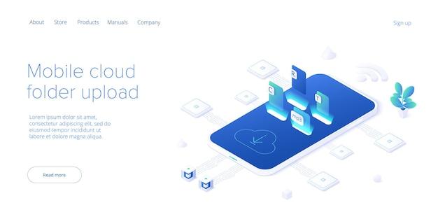 Utilisation du service de dossier cloud en isométrique