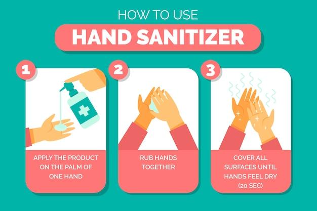 Utilisation de l'explication du désinfectant pour les mains illustrée