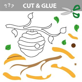 Utilisez des ciseaux et de la colle et restaurez l'image à l'intérieur du contour. jeu de papier éducatif facile pour les enfants. application enfant simple avec ruche