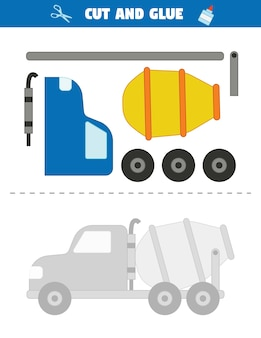 Utilisez des ciseaux pour couper des parties de la voiture et collez-les en un motif. voiture malaxeur de ciment.