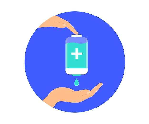 Utilisez un désinfectant pour les mains. désinfectant antibactérien. mesures préventives. conception plate.