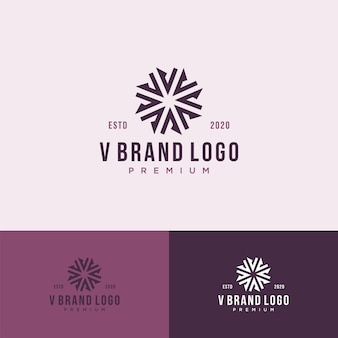 V monogramme logo luxe premium