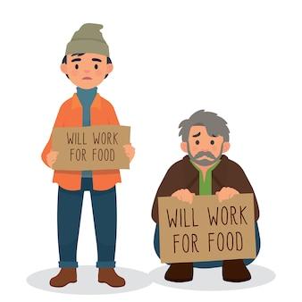 Va travailler pour les gens de caractère alimentaire, sans-abri tenant une pancarte
