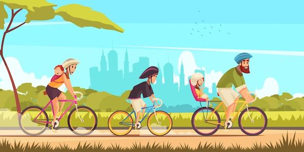 Vacances actives en famille parents et enfants pendant la balade à vélo sur fond de dessin animé de silhouettes de la ville