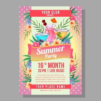 Vacances d'affiche fête été avec illustration d'arrière-plan polkadot cocktail tropical