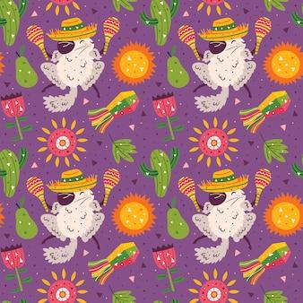 Vacances au mexique. petits chinchillas mignons en sombrero avec maracas. fête mexicaine. modèle sans couture plat coloré