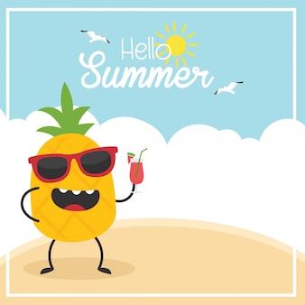 En vacances d'été, ananas avec une boisson, beach hello summer
