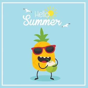 En vacances d'été, ananas à la noix de coco. bonjour été