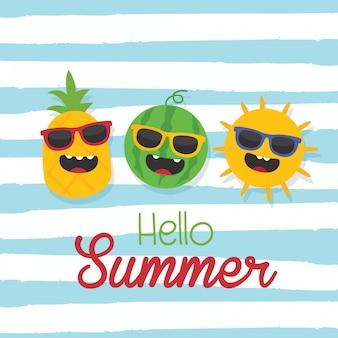 En vacances d'été, bonjour texte d'été avec le soleil, l'ananas, la pastèque et le fond de la vague