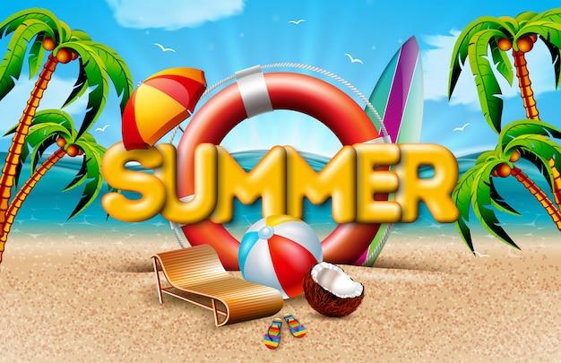 Vacances d'été avec bouée de sauvetage et palmiers