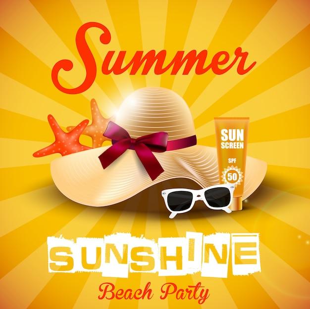 Vacances d'été avec chapeau, étoile de mer, lunettes de soleil et crème solaire