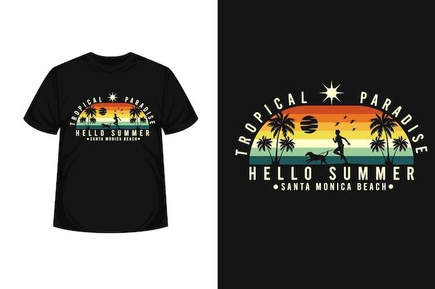 Vacances d'été avec la conception de t-shirt silhouette de marchandise de chiens