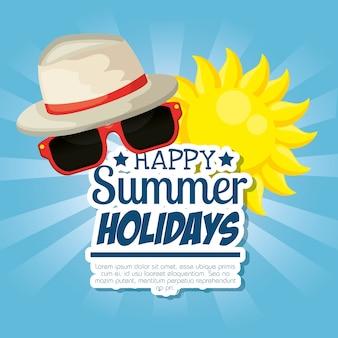 Vacances d'été définies icônes vector illustration design