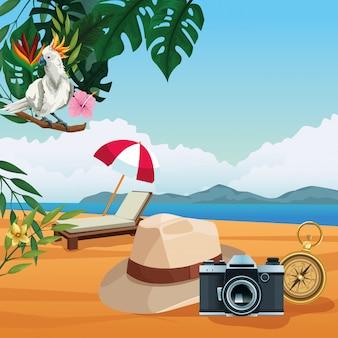Vacances d'été et dessins animés à la plage.