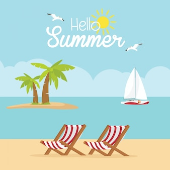 En vacances d'été, deux chaises longues sur la plage. paysage de plage et d'océan