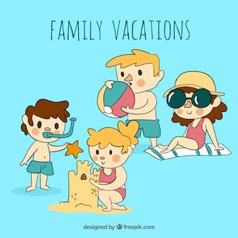 Vacances d'été en famille dessinés à la main