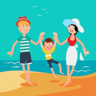 Vacances d'été en famille. famille heureuse sur la mer.