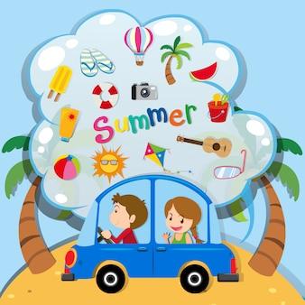 Vacances d'été avec des gens en voiture