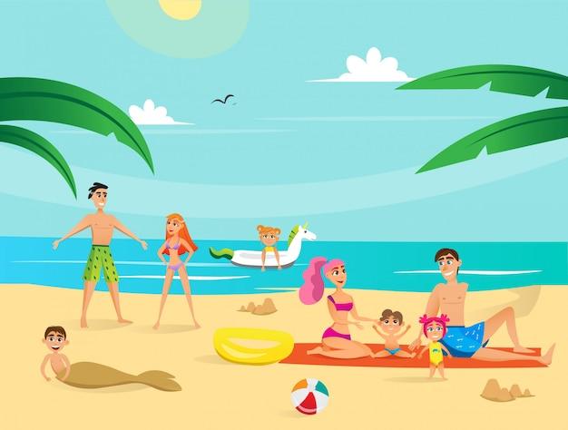 Vacances d'été. groupe de personnes sur la plage.