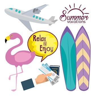 Vacances d'été icons set illustration vectorielle conception