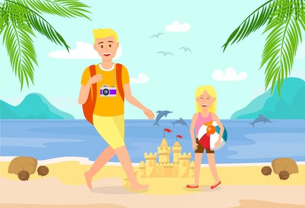 Vacances d'été sur l'île tropicale illustration.