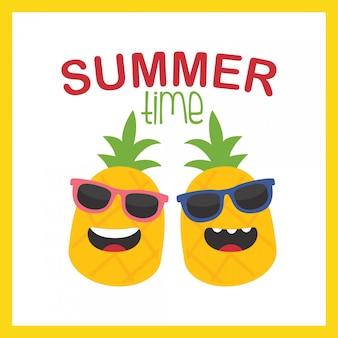 En vacances d'été, illustration de dessin animé mignon couple ananas pour les vacances d'été