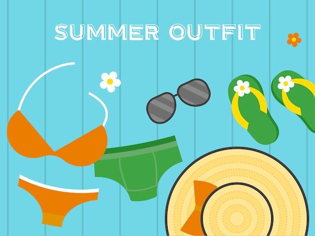 Vacances d'été, illustration de plage d'été