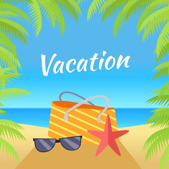 Vacances d'été sur illustration de plage tropicale