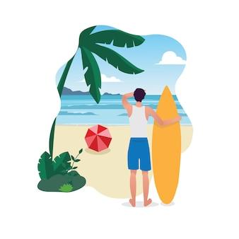 Vacances d'été. jeune, tenue, planche surf, plage