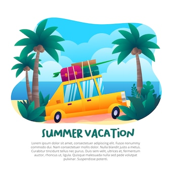 Vacances d'été avec une jolie voiture jaune
