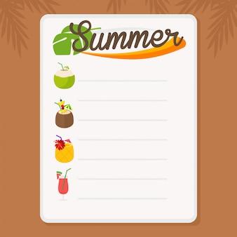 En vacances d'été, menu d'été pour bar à cocktails