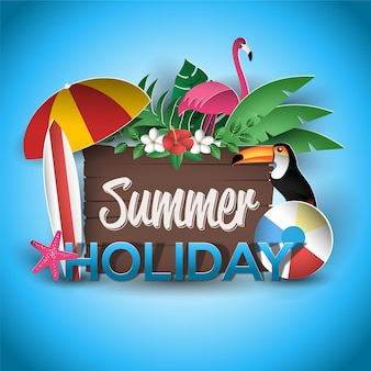 Vacances d'été avec panneau en bois carte de voeux style plat