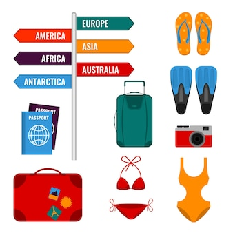 Vacances d'été avec panneaux de direction, valises à bagages, maillots de bain, passeports internationaux, appareil photo et palmes illustration vectorielle