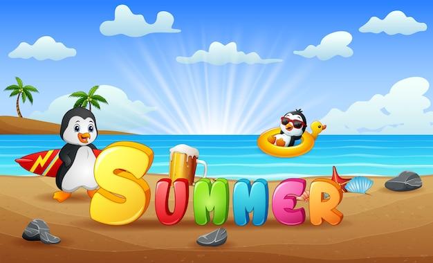 Vacances d'été avec des pingouins sur la plage