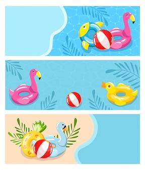 Vacances d'été sur la plage, illustration de la piscine. détente solaire et vacances amusantes, jouets inables, balle en caoutchouc, eau propre sur fond bleu. bel hôtel en bord de mer.