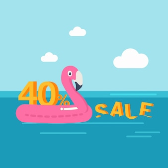 En vacances d'été, réduction de bannière de vente d'été de 40 pour cent. anneau de natation. flamant