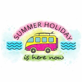 Les vacances d'été sont ici maintenant. lettrage aquarelle