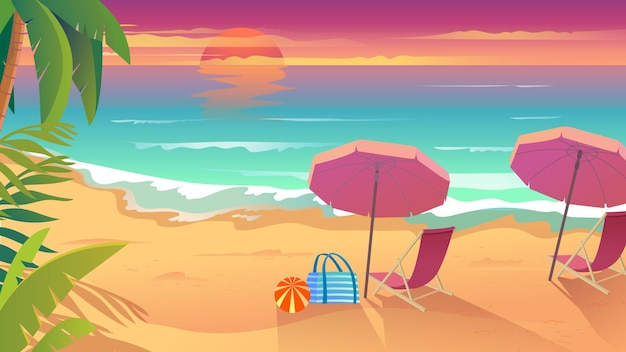 Vacances d'été à la station balnéaire en style cartoon plat