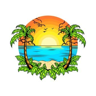 Vacances d'été avec style de dessin à la main