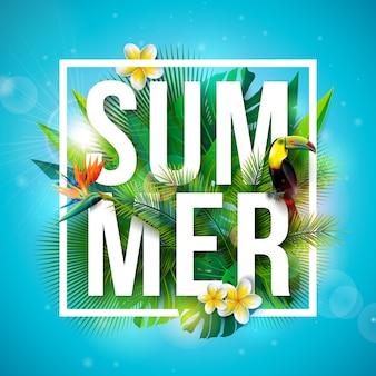 Vacances d'été tropicales avec oiseau toucan et fleur de perroquet