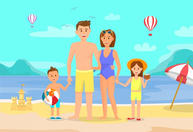 Vacances d'été, vacances avec dessin à plat familial.