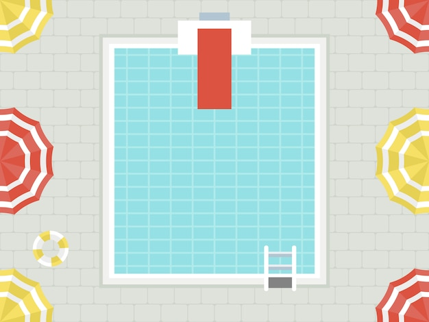 Vacances d'été, vue de dessus vecteur de piscine