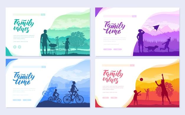 Vacances en famille avec des enfants dans le jeu de cartes nature. modèle de villégiature amicale de flyear, bannière web.