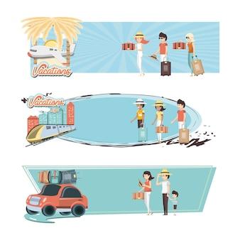 Vacances en famille set icônes voyage en vecteur ilustration