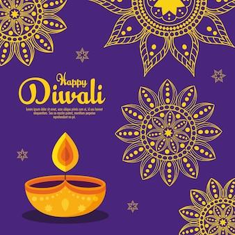 Vacances de festival de diwali avec décoration de bougies et de mandalas.