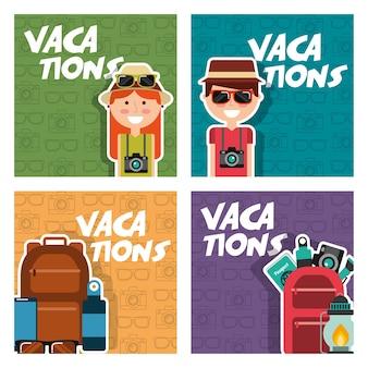 Vacances fixent les gens voyage d'équipement