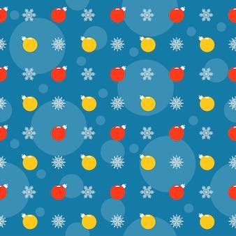 Vacances de fond de couleur vive avec des boules de noël et des flocons de neige de dessin animé lumineux